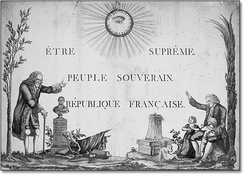 Robespierre, le 7 mai 1794, fit décréter par la Convention l'institution de ce culte, qui devait lier étroitement l'idée religieuse déiste et l'idée nationale. 1888759219